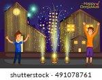 kids enjoying firecracker... | Shutterstock .eps vector #491078761