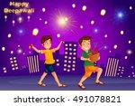 kids enjoying firecracker... | Shutterstock .eps vector #491078821