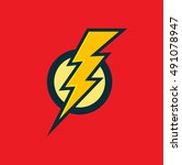 vector superhero sign. flash... | Shutterstock .eps vector #491078947