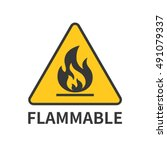 flammable sign icon in yellow... | Shutterstock .eps vector #491079337