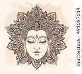 buddha face in ornate mandala... | Shutterstock .eps vector #491097214