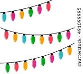 christmas lights garland ...   Shutterstock .eps vector #491099995