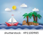 origami made  sailing boat... | Shutterstock .eps vector #491100985