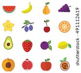 collection of fruits vector... | Shutterstock .eps vector #491112619