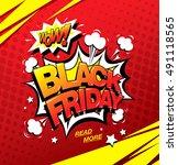 black friday comic style banner ... | Shutterstock .eps vector #491118565