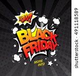 black friday comic style banner ... | Shutterstock .eps vector #491118589