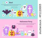 trendy halloween party web...   Shutterstock .eps vector #491120005