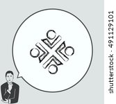 group of people icon  friends... | Shutterstock .eps vector #491129101