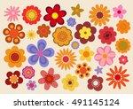 vintage flowers 60s 70s | Shutterstock .eps vector #491145124