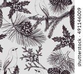 seamless pattern. vintage... | Shutterstock .eps vector #491146009