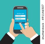 man hand holding smart phone.... | Shutterstock .eps vector #491146507