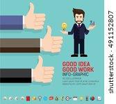 businessman hand thumb up... | Shutterstock .eps vector #491152807