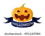 pumpkin jack o lantern  vector | Shutterstock .eps vector #491165584