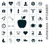health icon set | Shutterstock .eps vector #491166805