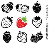 strawberry icon collection  ... | Shutterstock .eps vector #491169571