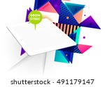tablet pc icon with geometric... | Shutterstock .eps vector #491179147