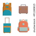 bags icon set. baggage luggage... | Shutterstock .eps vector #491180815
