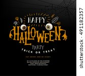happy halloween lettering.... | Shutterstock .eps vector #491182357