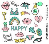 set of stickers  pins  patches... | Shutterstock .eps vector #491182675