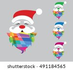 christmas   santa claus various ... | Shutterstock .eps vector #491184565