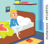 kid wake up in the morning... | Shutterstock .eps vector #491189551