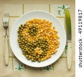 Peas and corn - stock photo
