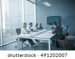 businesspeople watching... | Shutterstock . vector #491202007