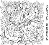 Coloring Page With Roses And...