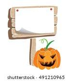 halloween signboard with... | Shutterstock .eps vector #491210965