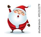 santa claus waving hand  | Shutterstock .eps vector #491212279