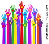 group hands of different colors. | Shutterstock .eps vector #491214895