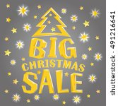 big christmas sale with tree... | Shutterstock .eps vector #491216641