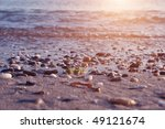 pink sundown on coastline... | Shutterstock . vector #49121674