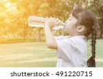child drinking water. on... | Shutterstock . vector #491220715