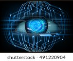 future technology  blue silver... | Shutterstock . vector #491220904