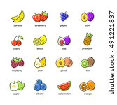 fruit set of black icons... | Shutterstock .eps vector #491221837