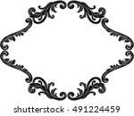 ornate decor swirl black page... | Shutterstock .eps vector #491224459