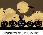 halloween holiday graphic... | Shutterstock .eps vector #491227309