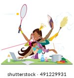 busy african american pretty... | Shutterstock .eps vector #491229931