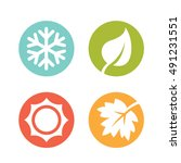 a set of four seasons icons.... | Shutterstock .eps vector #491231551