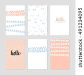 set of modern creative cards... | Shutterstock .eps vector #491234095