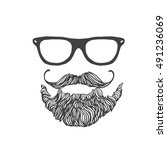 hipster man hairstyles  beards... | Shutterstock .eps vector #491236069