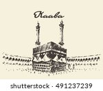 holy kaaba in mecca saudi... | Shutterstock .eps vector #491237239