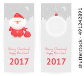 festive  greeting cards in gray ... | Shutterstock .eps vector #491242891