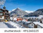 scenery  of winter  resort...   Shutterstock . vector #491260225