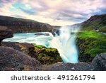 gulfoss waterfall iceland ... | Shutterstock . vector #491261794