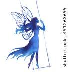 fairy on swing  watercolor...   Shutterstock .eps vector #491263699