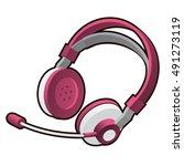 pink headphones with microphone ... | Shutterstock .eps vector #491273119