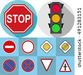 set of road signs  traffic... | Shutterstock .eps vector #491283151