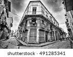 gritty image of old havana... | Shutterstock . vector #491285341